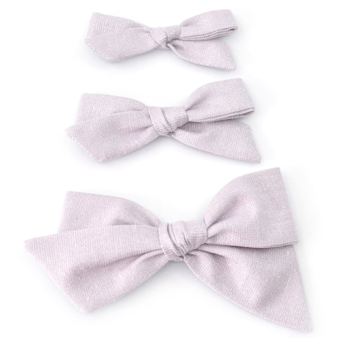 Lilac Shimmer Evy Bow, Newborn Headband or Clip