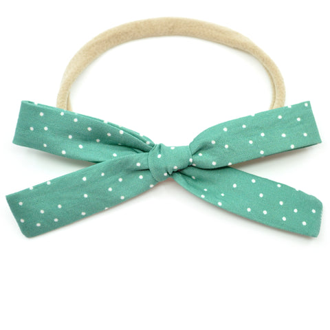 Pine Green Polka Dot Leni Bow, Infant or Toddler Hair Bow