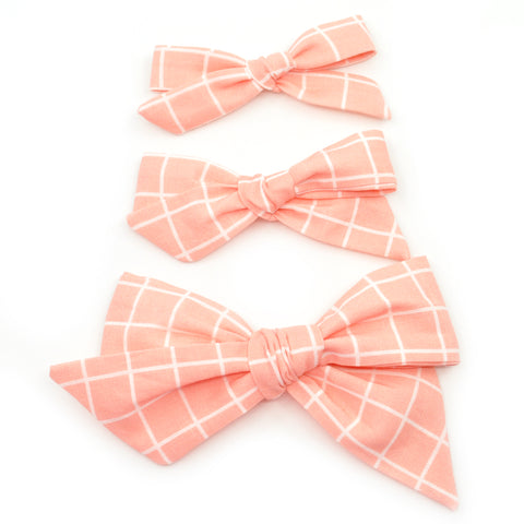 Pink Wrapping Paper Evy Bow, Newborn Headband or Clip
