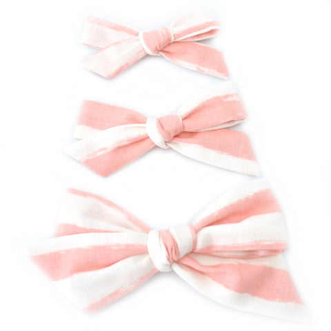 Pink & Ivory Brushstrokes Evy Bow, Newborn Headband or Clip
