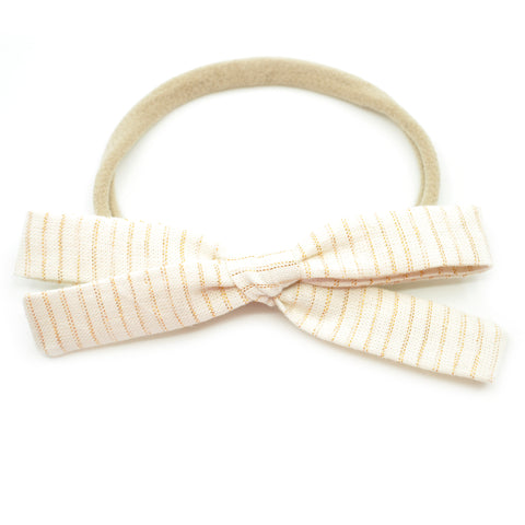 Ivory & Gold Tinsel Leni Bow, Infant or Toddler Hair Bow