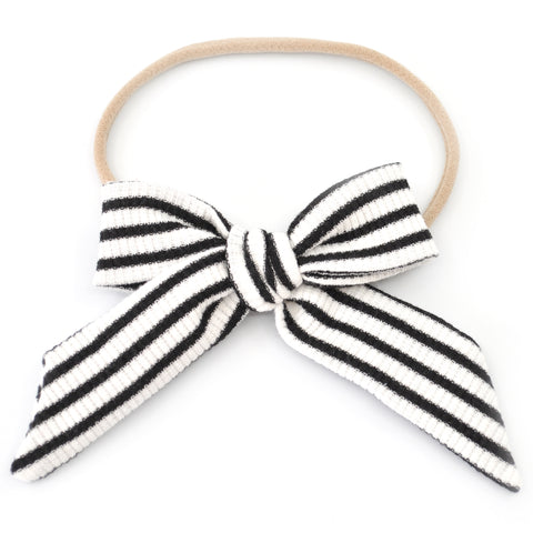 Black & White Striped Nora Bow