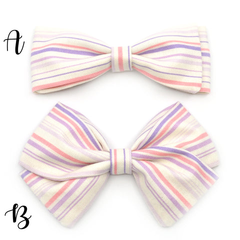 Lavender and Pink Striped Bow Tie OR Anna Bow