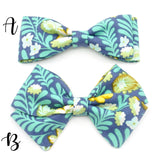 Turquoise Tropical Floral Bow Tie OR Anna Bow