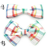 Vintage Primary Plaid Seersucker Bow Tie OR Anna Bow