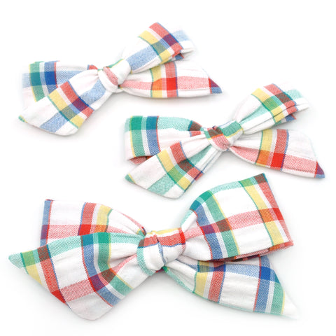 Vintage Primary Plaid Seersucker Evy Bow