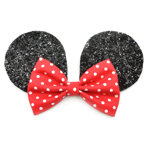 Black Mouse Ears & Red Polka Dot Belle Bow
