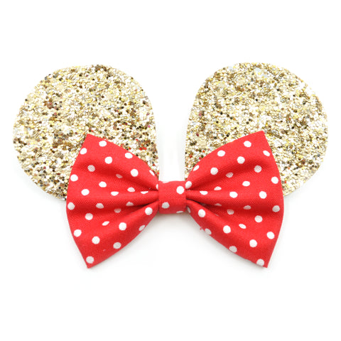 Gold Mouse Ears & Red Polka Dot Belle Bow