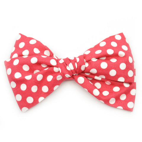 Strawberry Red & White Even Polka Dots Rona Bow