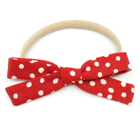 Red & White Scattered Polka Dot Leni Bow