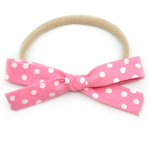 Pink & White Scattered Polka Dot Leni Bow