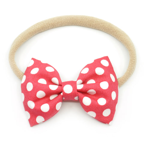 Strawberry Red & White Polka Dot Belle Bow, Tuxedo Bow