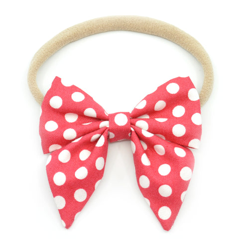 Strawberry Red & White Polka Dot Elle Bow, Toddler Hairclip