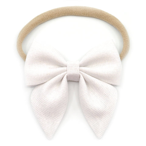 White Shimmer Linen Elle Bow, Toddler Hairclip