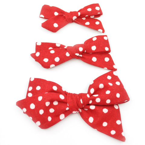 Red Scattered Polka Dot Evy Bow, Newborn Headband