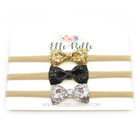 Mini-Belle Glitter Bow SET of 3 bows on Headbands