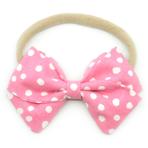 Pink & White Scattered Polka Dot Anna Bow