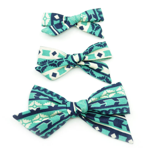 Teal Aztec Evy Bow, Newborn Headband