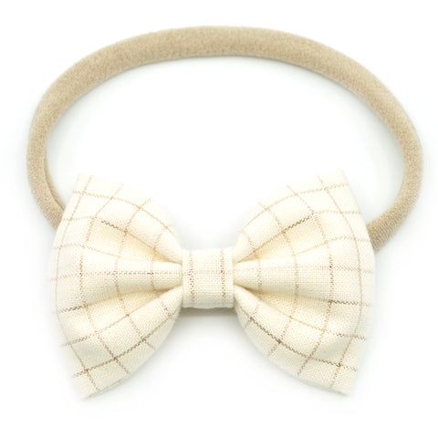 Metallic Rose Gold Crosshatch Belle Bow, Tuxedo Bow