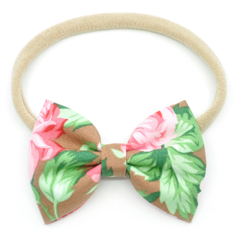 Large Pink Roses on Hazelnut Belle Bow, Tuxedo Bow