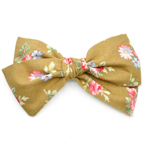 Hazelnut & Small Pink Floral Rona Bow