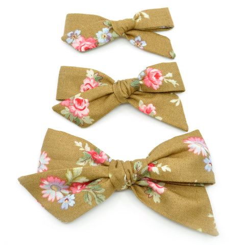 Hazelnut & Small Pink Floral Evy Bow, Newborn Headband