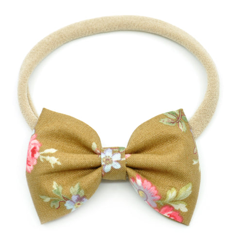 Hazelnut & Small Pink Floral Belle Bow, Tuxedo Bow