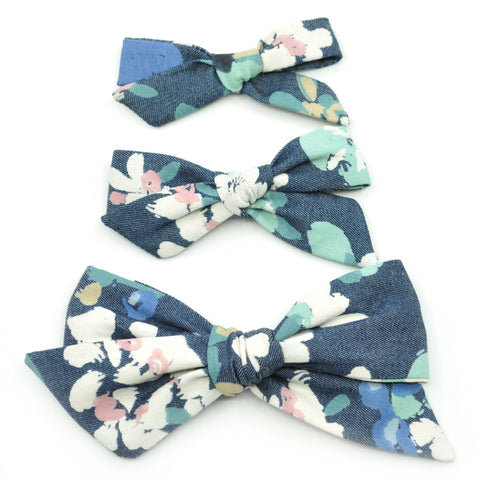 Denim Blue Floral Evy Bow, Newborn Headband