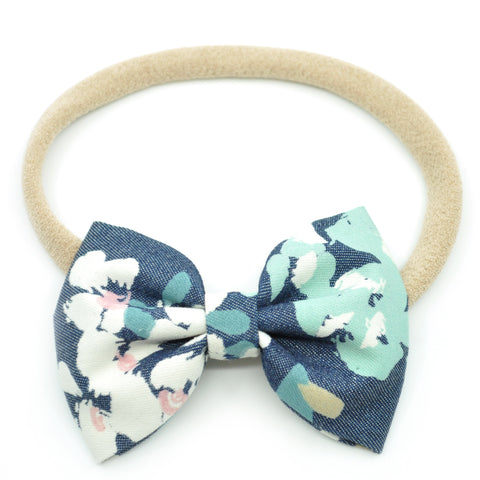 Denim Blue Floral Belle Bow, Tuxedo Bow