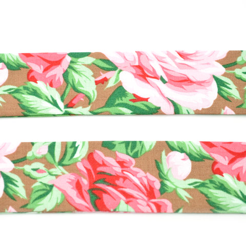 Large Pink Roses on Hazelnut Bow Tie OR Anna Bow