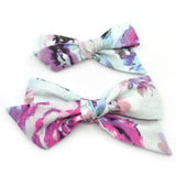 Ice Blue & Purple Floral Evy Bow, Newborn Headband
