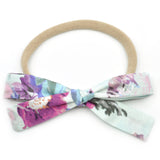Ice Blue & Purple Floral Leni Bow