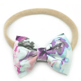 Ice Blue & Purple Floral Belle Bow, Tuxedo Bow