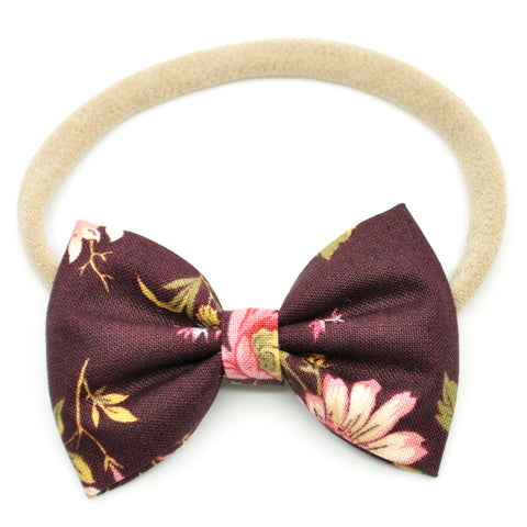Mulberry Floral Belle Bow, Tuxedo Bow