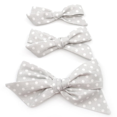 Grey & White Polka Dot Evy Bow, Newborn Headband or Clip