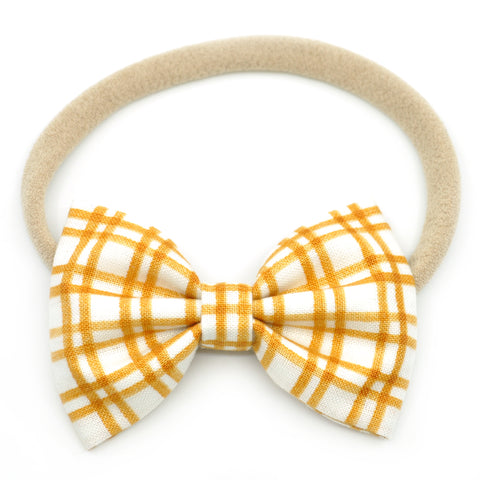 Mustard Plaid Belle Bow, Tuxedo Bow