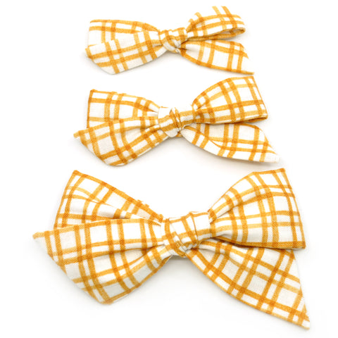 Mustard Plaid Evy Bow, Newborn Headband