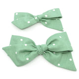 Sage Green Polka Dot Evy Bow, Newborn Headband