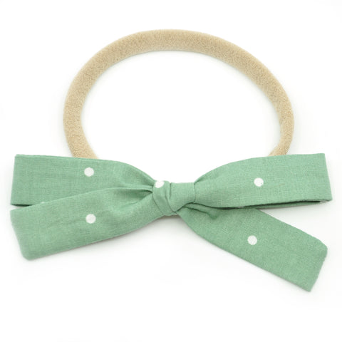 Sage Green Polka Dot Leni Bow