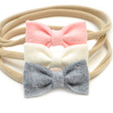 Mini-Felt Newborn Headbands, Tiny Baby Bow Set