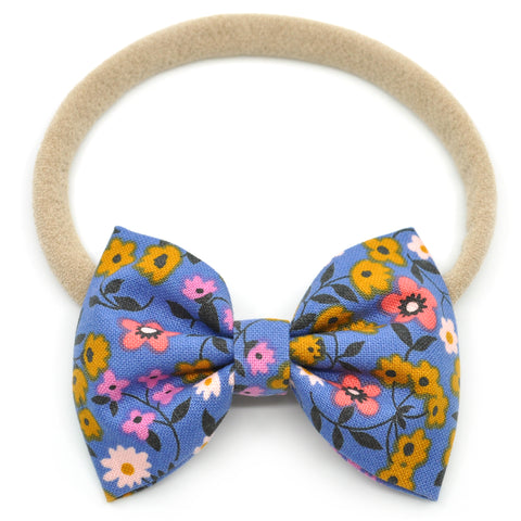 Dark Periwinkle Floral Belle Bow, Tuxedo Bow