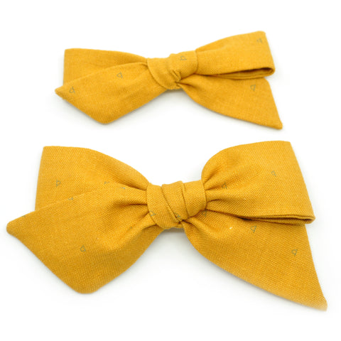 Mustard & Navy Crescents Evy Bow, Newborn Headband