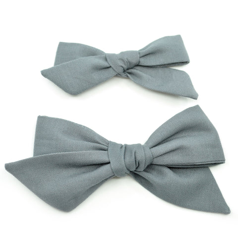 Pewter Gray Evy Bow, Newborn Headband