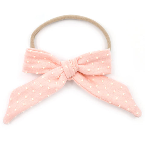 Pink & Ivory Swiss Dots Nora Bow