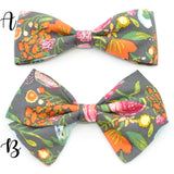 Charcoal Harvest Floral Bow Tie OR Anna Bow