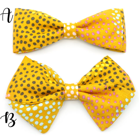 Mustard Multicolor Polka Dot Bow Tie OR Anna Bow