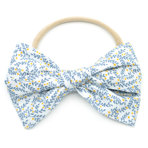 Dusty Gray & Blue Vines Rona Bow