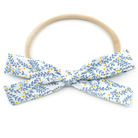 Dusty Gray & Steel Blue Vines Leni Bow, Headband or Clip