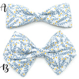 Dusty Gray & Blue Vines Bow Tie OR Anna Bow