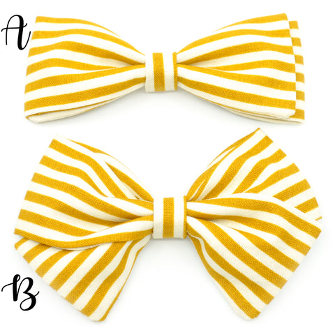 Mustard Striped Bow Tie OR Anna Bow